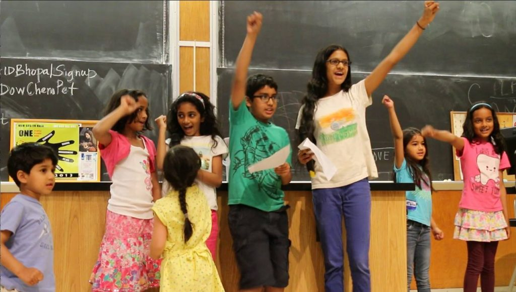 """Kids recited the """"Gandhi Rap"""" at the end of the AID Conference"""