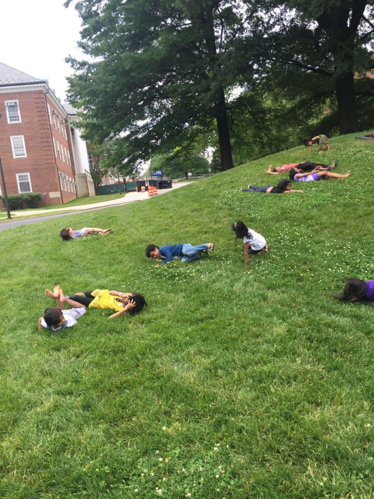 There is a hill with the letter M on the University of Maryland Campus. Good for rolling!